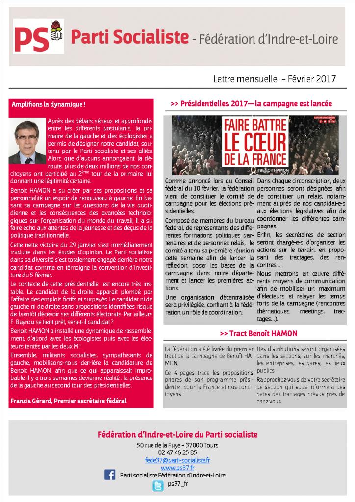 Newsletter fédé février 2017