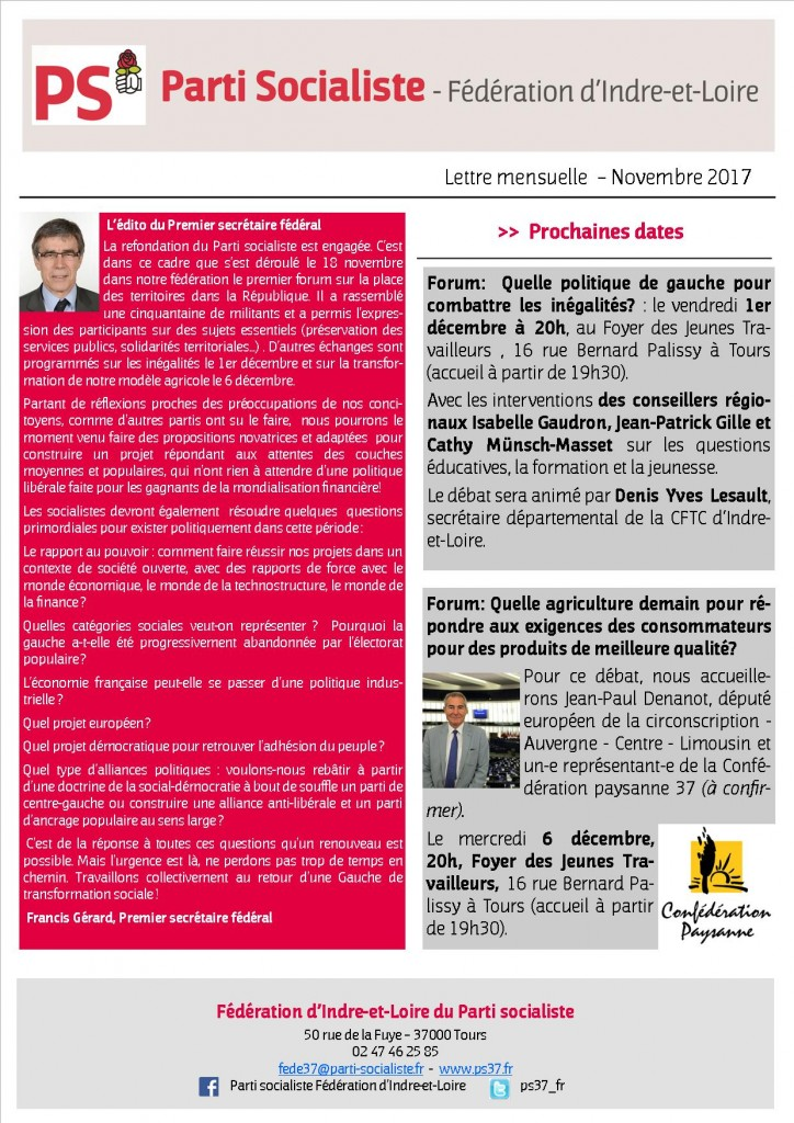 Newsletter fédé Novembre 2017- 1
