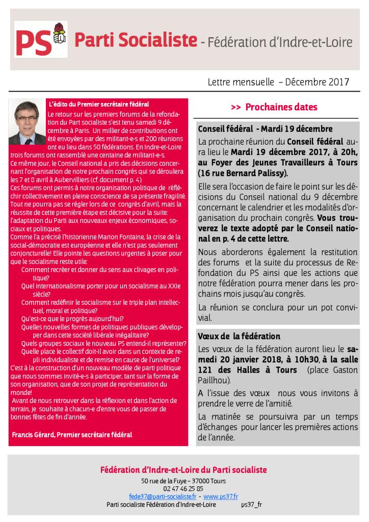 Newsletter fédé Décembre 2017 p 1