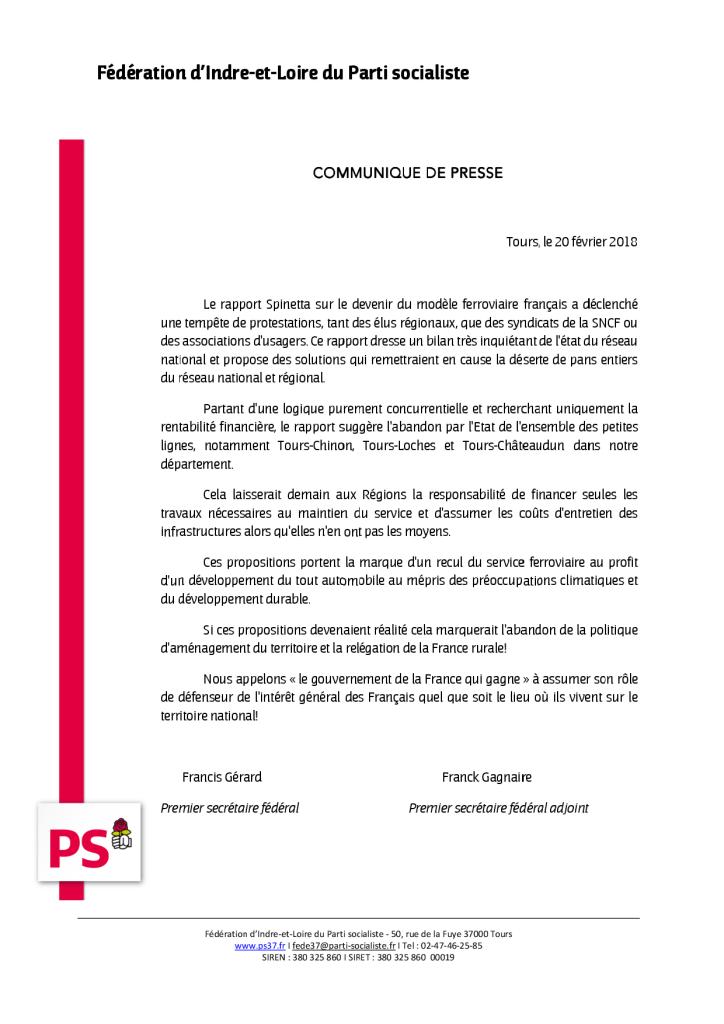 Communiqué de presse 20_02_2018_Rapport_Spinetta_SNCF